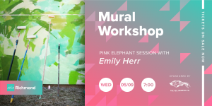 Pink Elephant Sessions Mural Workshop with Emily Herr at Veil Brewing Wednesday, May 9 at 7:00pm!